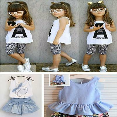 Toddler Kids Baby Girls Summer Clothes T-shirt Top+Pants Shorts Outfits Set 2-7Y