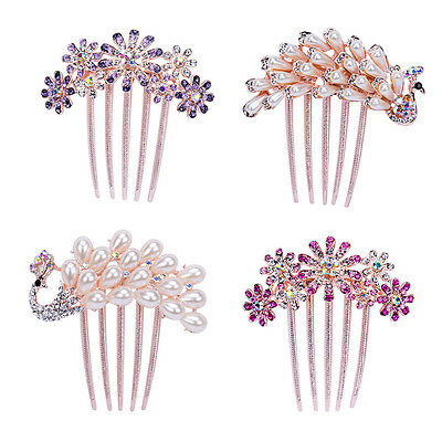 Fashion Women Rhinestone Flower Wedding Bridal Hair Comb Hairpin Clip Jewelry