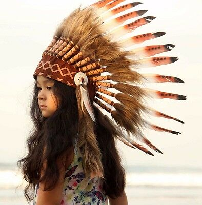 Children feather indian headdress replica,  short length, white and brown