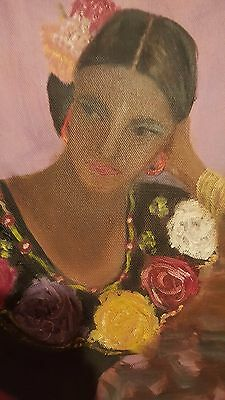 """Original superb painting """"Lovely Latina lady with flowers on her gown"""""""