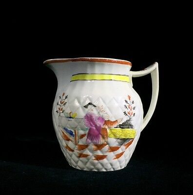 Pearlware jug with quilted moulding & chinoiserie pattern, Thomas Harley, c.1810