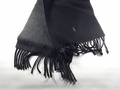 New Genuine Polo Ralph Lauren Men's Reversible Wool Scarf Black Grey CLEARANCE