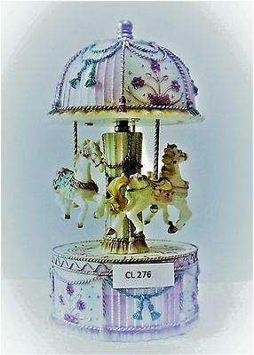 """Pink And Blue  Musical Carousel Trinket Box 19 Cms/ 7.5""""   Gift Present"""