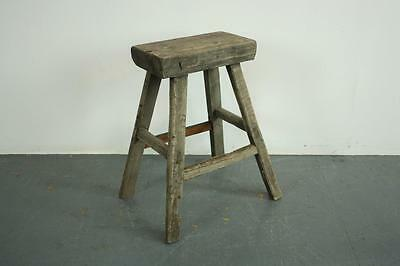 VINTAGE RUSTIC ANTIQUE WOODEN STOOL MILKING EXTRA LARGE No L147