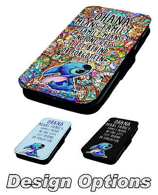 Ohana Means Family Printed Faux Leather Flip Phone Cover Case Lilo Stitch #1