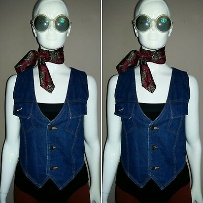 Vintage Hippie/Gypsy/Folk/Bohemian Denim Waistcoat by COOPERS. Size S.