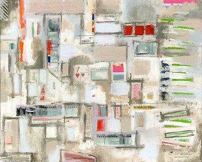 """mixed media painting collage on canvas 16""""x20"""" abstract expressionist modern art"""