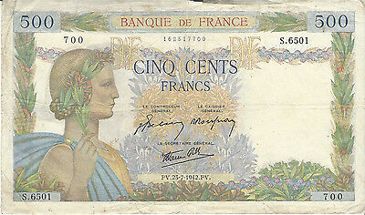 France 500 Francs 1942 23 Juillet Paper Money  Rare  Authentic!
