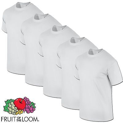 5 Pack WHITE Fruit of The Loom Cotton Mens Tshirt T Shirt Workwear Wholesale Top