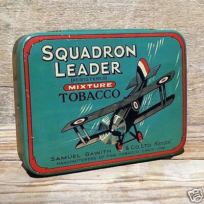 Vintage Original 1930s SQUADRON LEADER AIRPLANE BOMBER Flying Tobacco Tin Empty