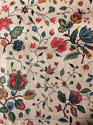 Vintage French Printed Linen Fabric  1920s
