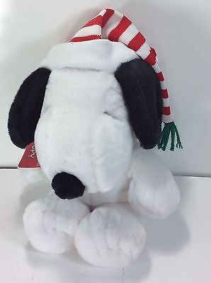 "Hallmark Plush Snoopy Doll 12"" Peanuts Toy Red & White Stripe Hat W/ Tags UFS"