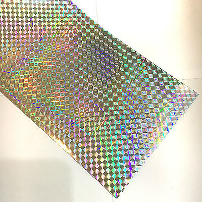 "12"" X 4'ft - Silver 1/4"" Mosaic Holographic Craft & Hobby Cutting Vinyl Film"