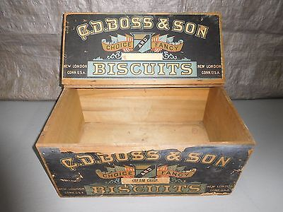 19th Cent. C.D.Boss & Son Boss' Lunch Milk Biscuit Advertising Box/Crate w/Top