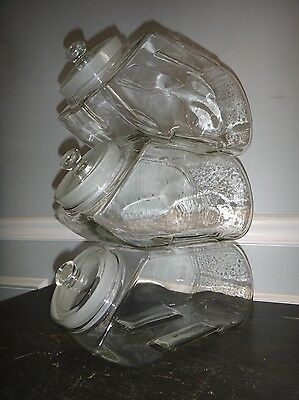 Rare Trio Stacking Glass Apothecary Jar Candy Store Bottle Coffee Shop Display