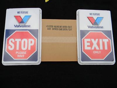 """NOS Pair of Valvoline Stop & Exit Signs New Never Used in Original Box 28"""" X 17"""""""