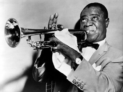 Louis Armstrong Trumpet Retro BW Jazz Music HUGE GIANT PRINT POSTER