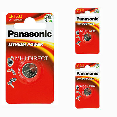 3 x PANASONIC CR1632 CR 1632 ECR1632 Lithium Batteries Coin Cell Use By 2028