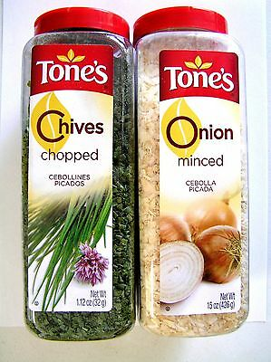 Pantry Size Tones Chopped Chives 1.12 Oz Shaker & Minced Onion 15 Oz Shaker