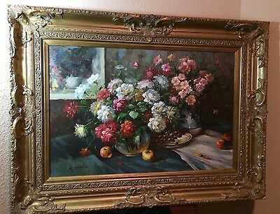 Original Floral Oil On Canvas Large Painting In Gold Frame 36 X 48