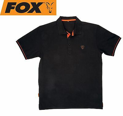 Fox Black / Orange Polo Shirt Poloshirt, Shirt für Angler, schwarzes Angelshirt