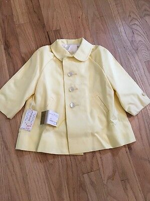 Vintage Kute Kiddies Classic Yellow Peacoat Jacket 12M Baby Toddler NEW