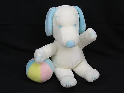 Vintage HTF Snoopy Peanuts blue & white baby with ball rattle Determined