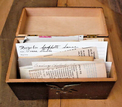 Vintage Recipe Box Wooden Americana Colonial Eagle Wood with Old Recipes