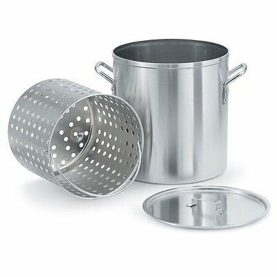 """LOBSTER"" POT WITH PERF, BASKET AND LID by VOLLRATH -  60 QUART ALUMINUM"