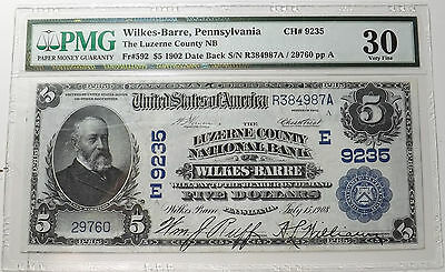 1902 $5 Date Back National Currency The Luzerne Cnty National Bank Wilkes Barre