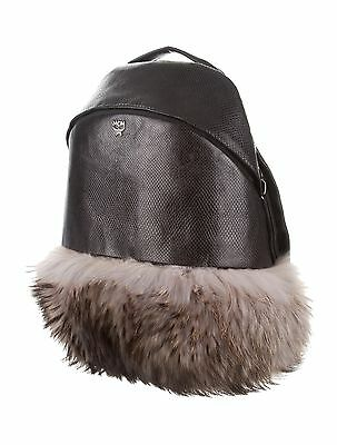 Authentic New MCM Theo Leather Furry Black Backpack ~ Sold Out!!!