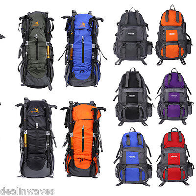 50L/65+5L Large Hiking Backpack Camping Travel Luggage Bag Rucksack Waterproof