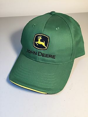 John Deere Green Cotton Embroidered Strapback Hat- Yellow Trim