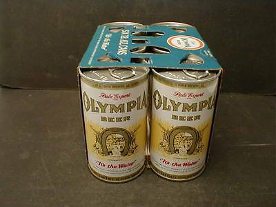 VINTAGE OLYMPIA BEER SIX PACK 12 oz  PULL TAB CANS in CARRY CARTON - OLY