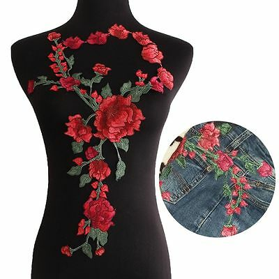 Flower Embroidery Patch Fabric Sticker Sew-on Red Rose Blossom Applique