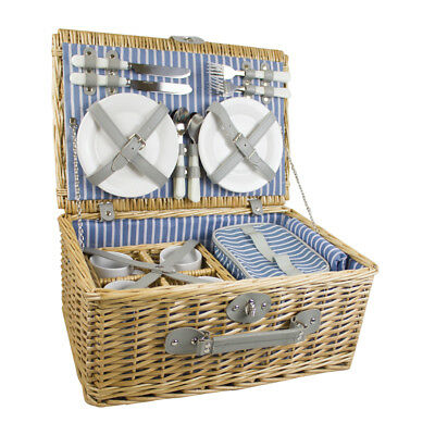 4 Person Luxury Wicker Picnic Basket With Cooler Bag - Yellowstone