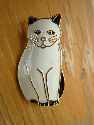 White & Black Enamel  CAT Pin Brooch