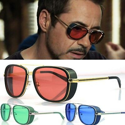 Mens Square Tony Stark Iron Men Sunglasses Retro Transparent Lens
