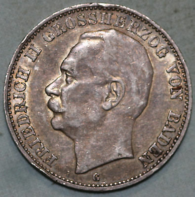 BADEN (German State) 3 Mark 1912 G - Silver~Frederich II~Combined S.& H.