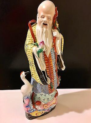 """14"""" Antique Chinese Famille Rose Porcelain Figure of Immortal SHOU With Mark"""