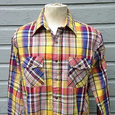 Vintage 1970's Kingsport long sleeve button up shirt plaid rockabilly large
