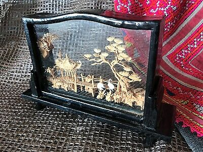 Old Chinese Cork Carving in Black Lacquered & Glass case …beautiful collection..