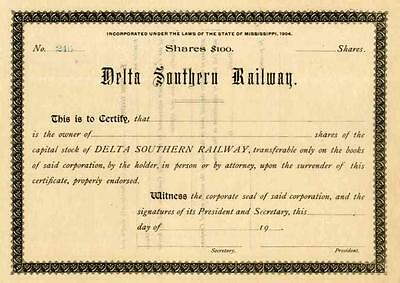 19__ Delta Southern RW Stock Certificate