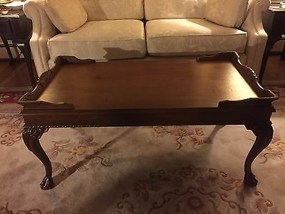 Chippendale Style Mahogany Coffee Table Ball and Claw Feet