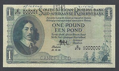 South African One Pound  21-12-1956 P92s Specimen Uncirculated