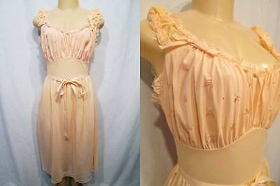 Vtg NOS Deadstock 50s Nightgown Gown MOJUD Peach Embroidery Nylon 34 PIN UP