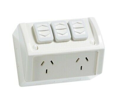 Weatherproof Double Power Point Extra Switch Outlet Socket GPO External Outdoor