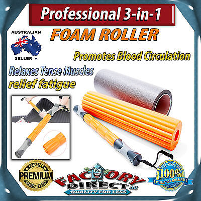 Professional 3-in-1 Massage Foam Roller Muscle Tension Relax Improve Circulation