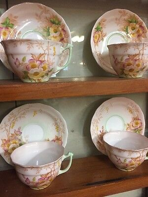 Vintage Old Royal Bone China Set Of 4 Matching Cup And Saucers