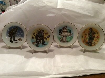Set of 4 Emmett Kelly Jr Collector's Society Four Seasons Plates by Flambro